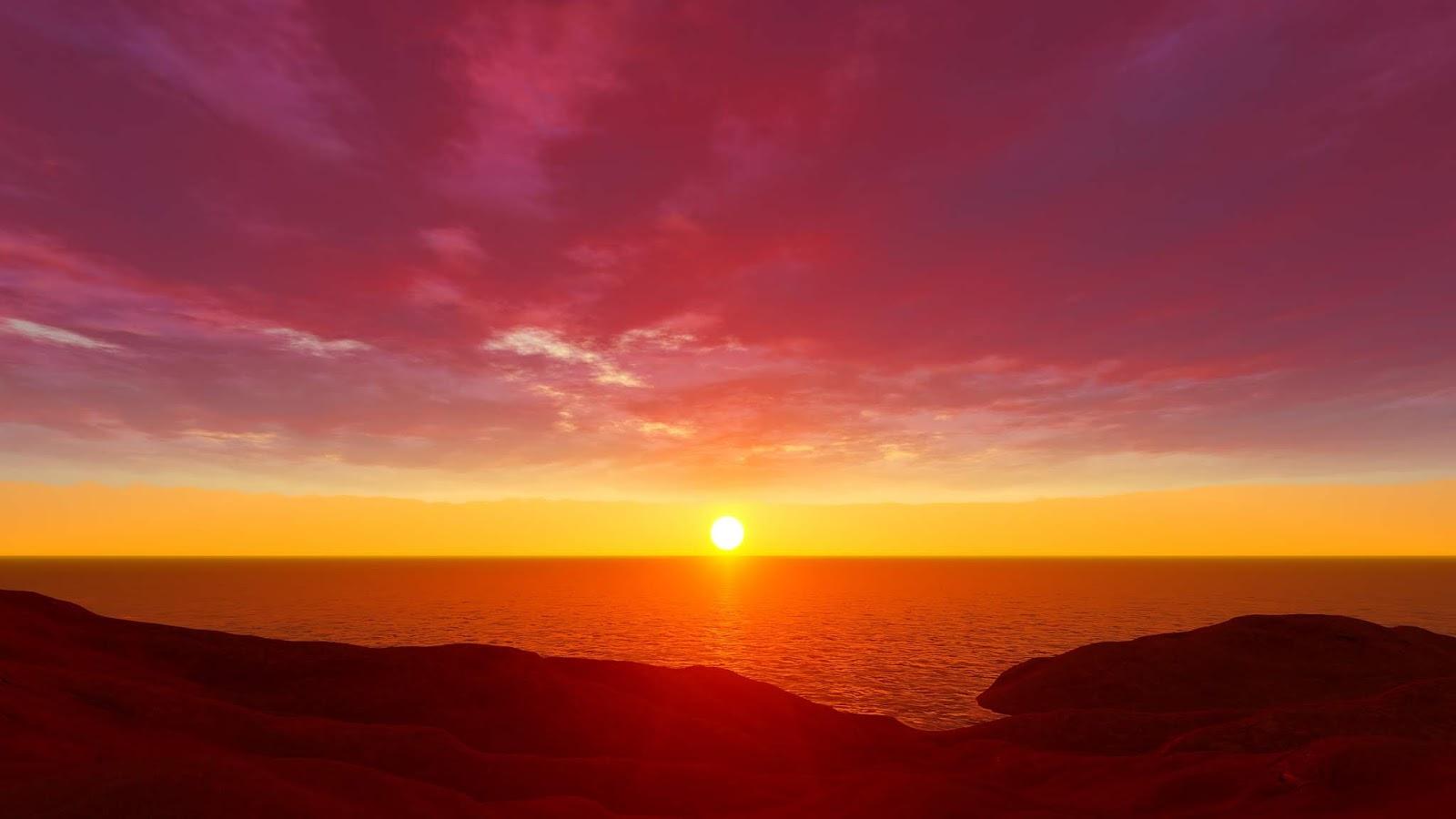 Ảnh backgroud mặt trời lặn trên biển