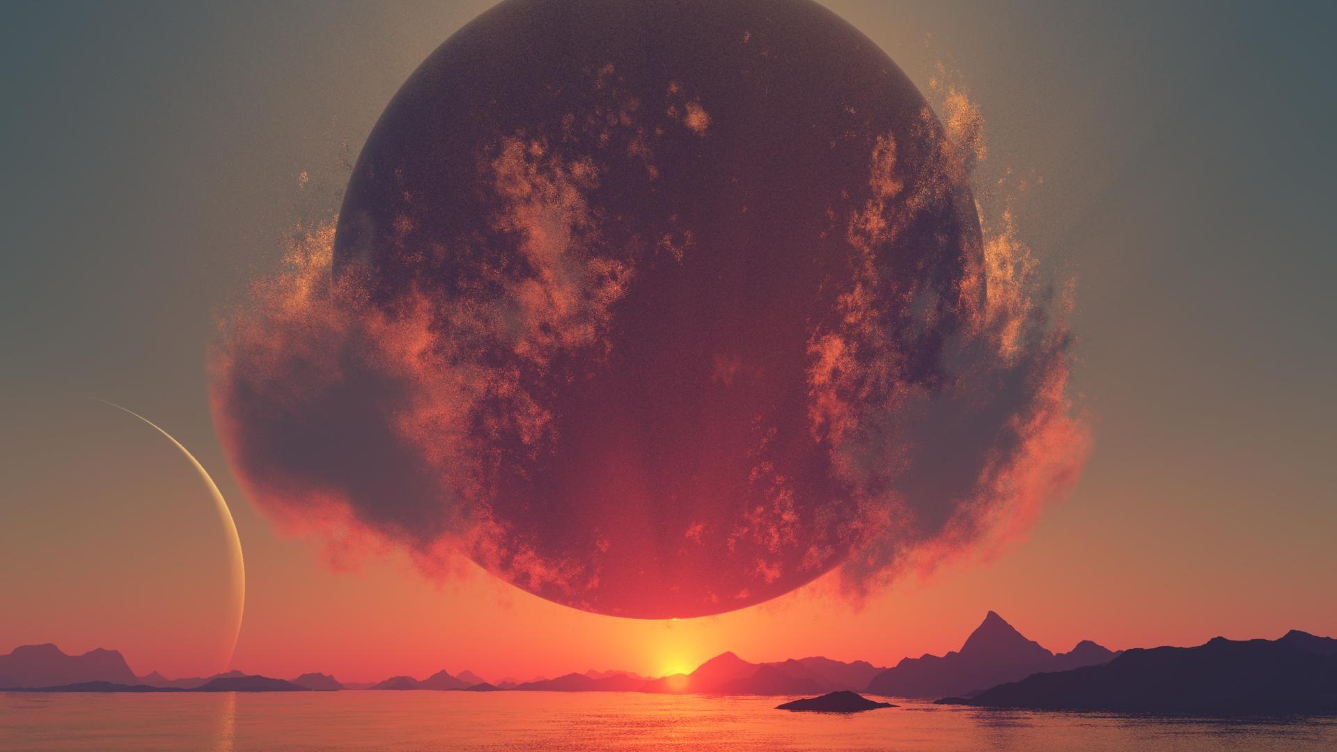 Ảnh background bầu trời và mặt trăng cực đỉnh