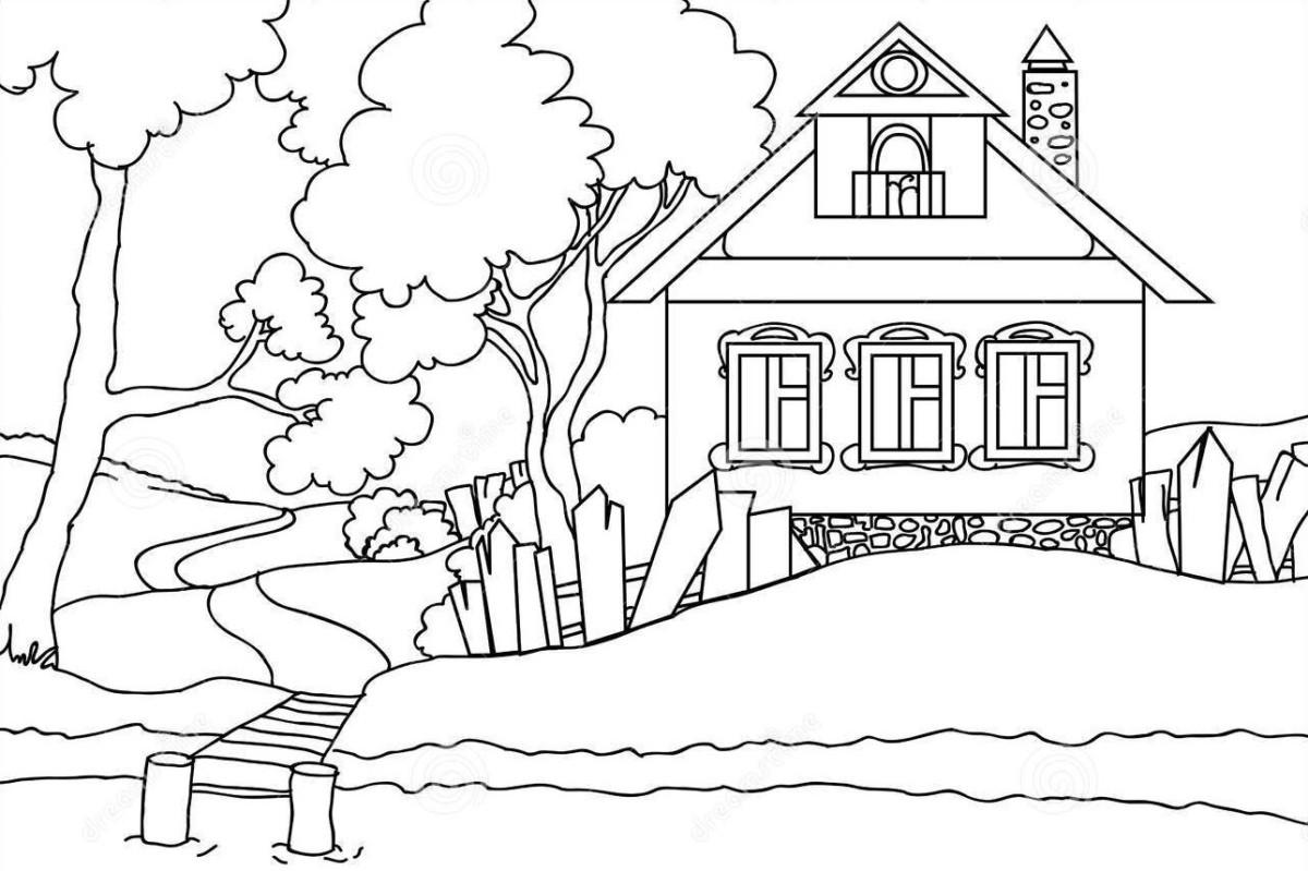 Ảnh ngôi nhà xinh đẹp để bé tô màu