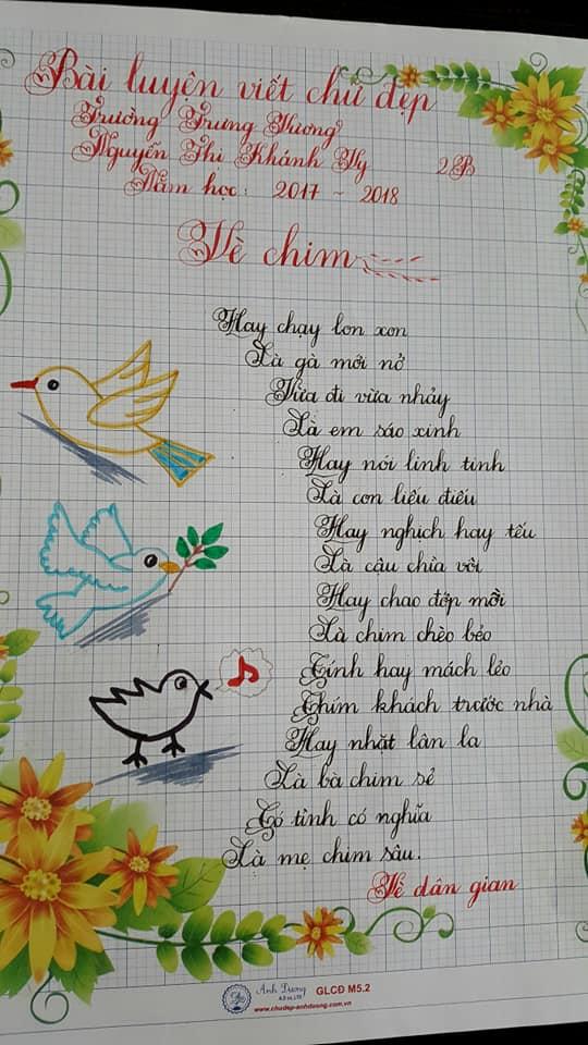 Bài luyện thi chữ đẹp Vè chim