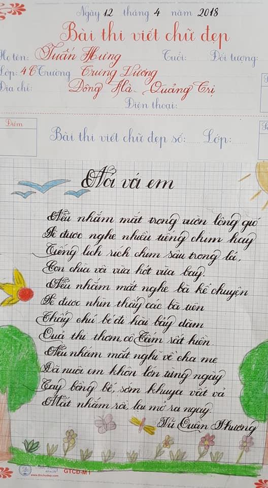 Bài thi viết chữ đẹp mẫu chữ đẹp nhất