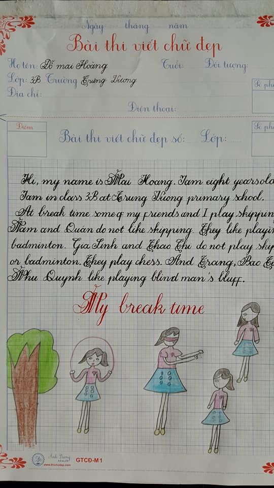 Bài thi viết chữ đẹp tiếng Anh của học sinh