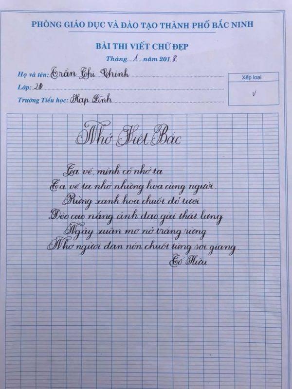 Mẫu chữ đẹp nhất của học sinh Nhớ Việt Bắc