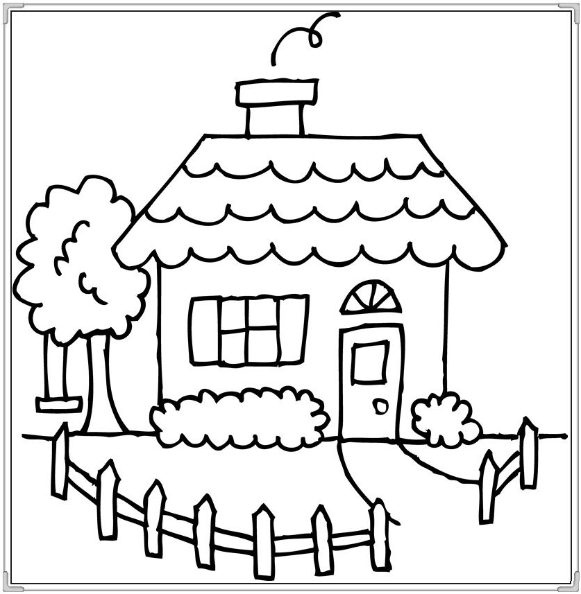 Tranh bé tập tô màu ngôi nhà
