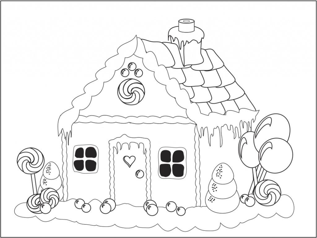 Tranh tô màu cho bé ngôi nhà kẹo