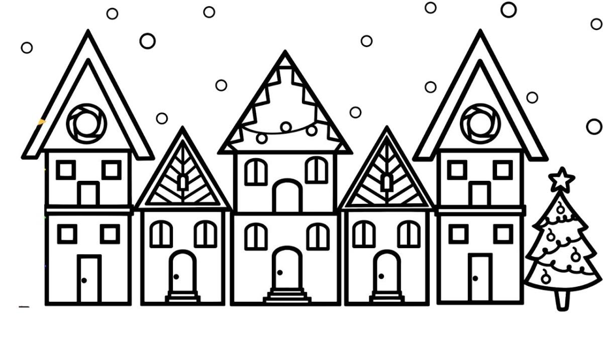 Tranh tô màu đẹp ngôi nhà trong ngày tuyết rơi