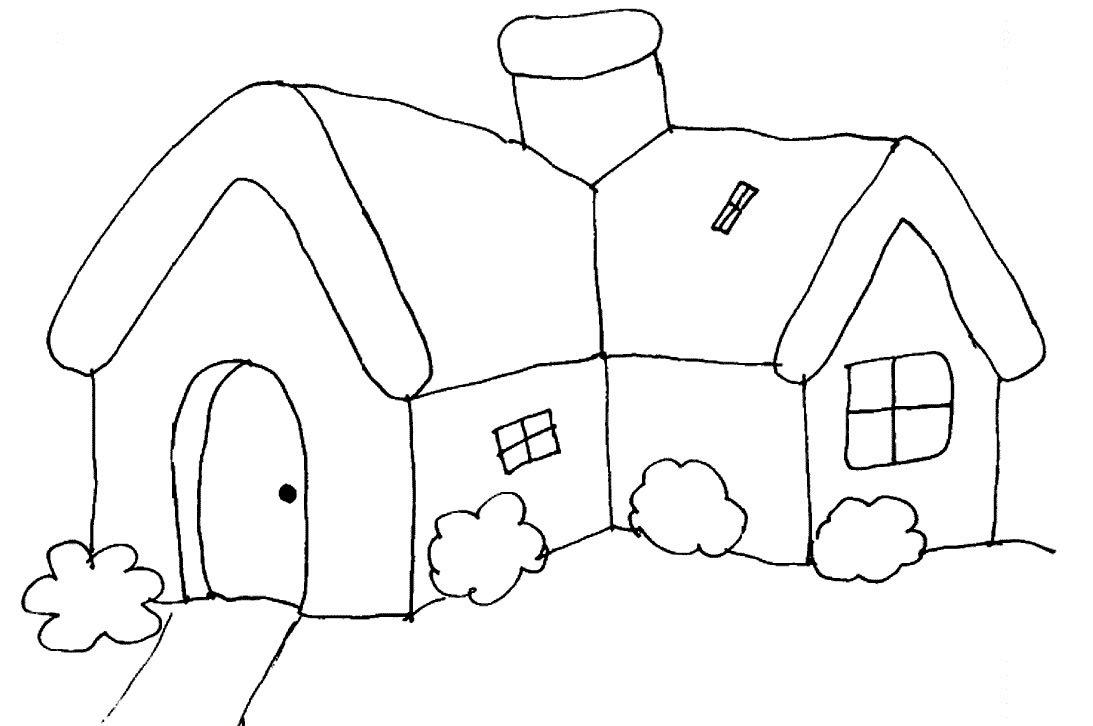 Tranh tô màu đơn giản ngôi nhà của bé