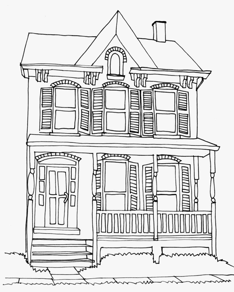 Tranh tô màu hình ngôi nhà dành cho bé