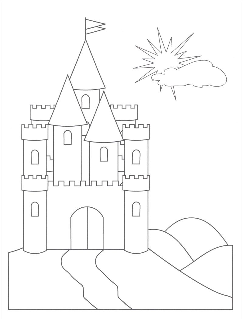 Tranh tô màu lâu đài cho bé
