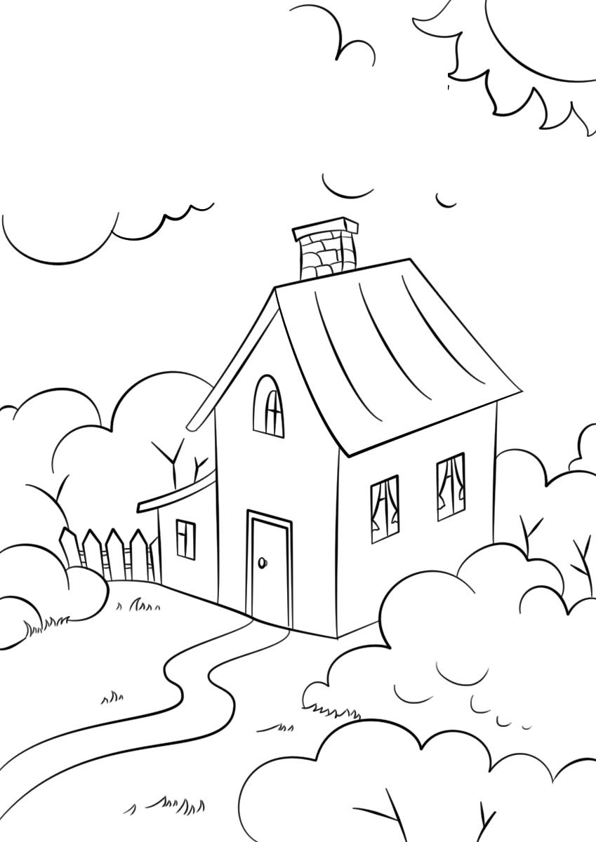 Tranh tô màu ngôi nhà đơn giản