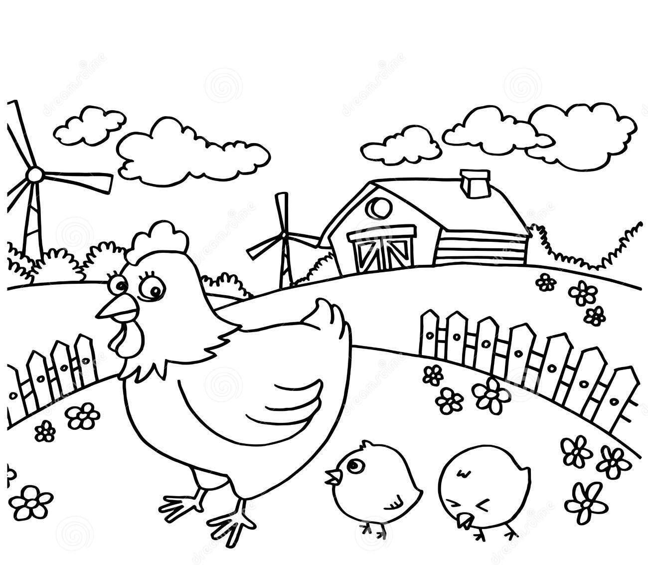 Tranh tô màu ngôi nhà ở nông thôn đẹp