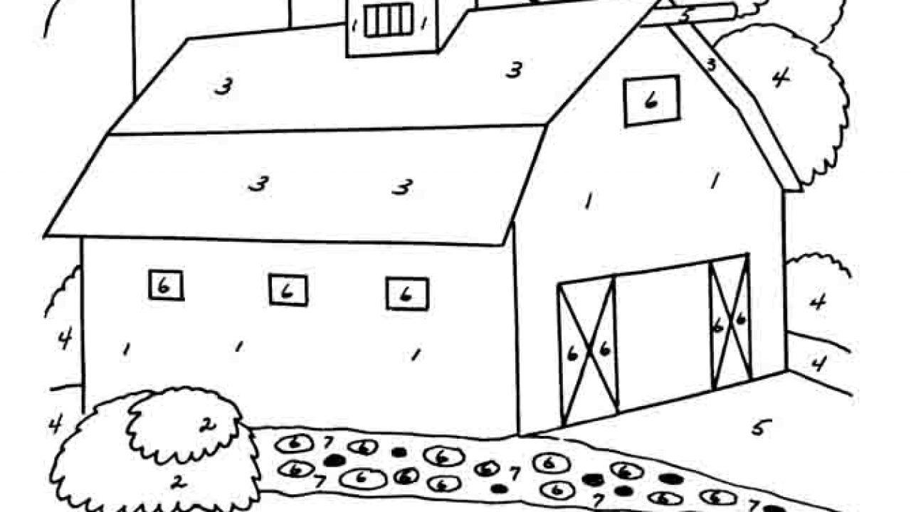 Tranh tô màu ngôi nhà trang trại của nhà em