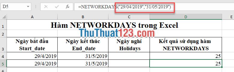 Điền ngày vào đối số của hàm networkdays giá trị đó phải cho vào trong dấu nháy kép