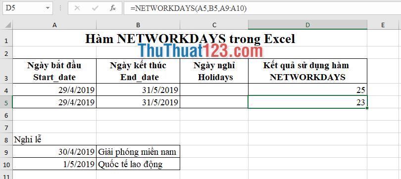 Điền vùng dữ liệu chứa các ngày nghỉ lễ