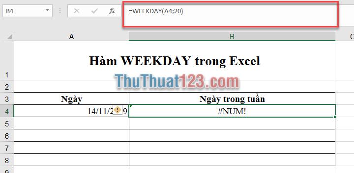 Nếu return_type nằm ngoài phạm vi đã xác định trong bảng trên đây, hàm sẽ trả về giá trị lỗi #NUM!
