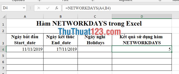 Sử dụng hàm NETWORKDAYS không lựa chọn đối số Holidays