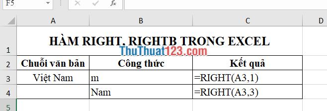 Sử dụng hàm RIGHT để lấy 1 và 3 ký tự cuối cùng