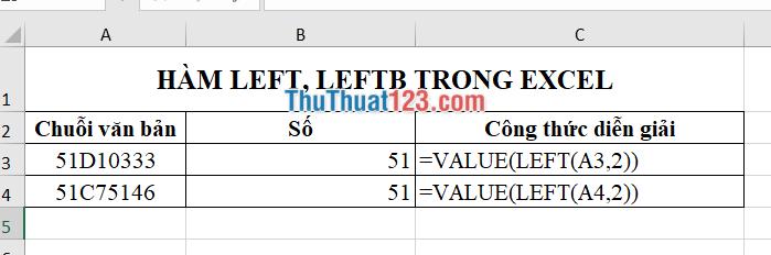 Sử dụng làm LEFT kết hợp với hàm VALUE chuyển dữ liệu sang số