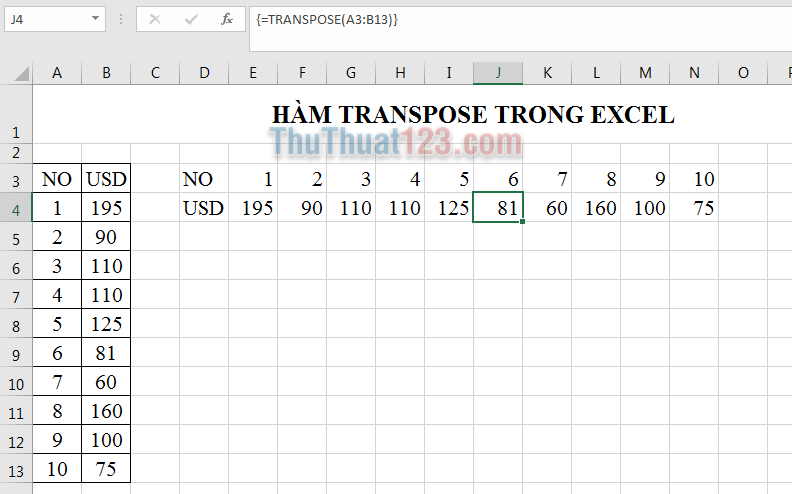 Kết quả của hàm TRANSPOSE được kết nối với dữ liệu gốc