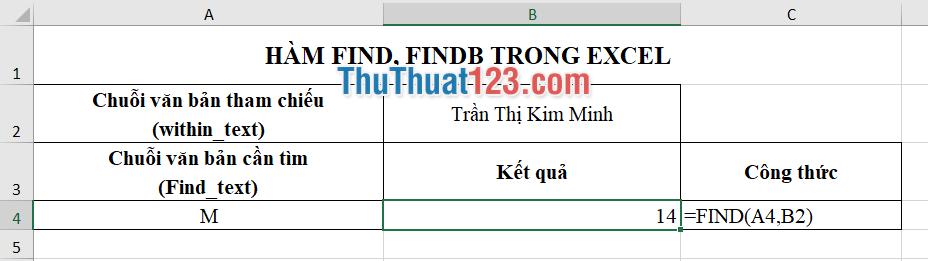 Mô tả công thức FIND tìm ký tự M đầu tiên trong chuỗi và trả về thứ tự của ký tự đó trong chuỗi