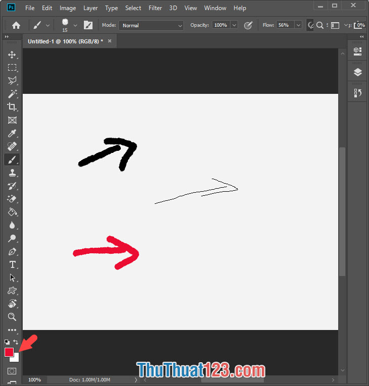 Bạn chọn màu sắc cho mũi tên và tiến hành sử dụng chuột trái để vẽ mũi tên trên màn hình