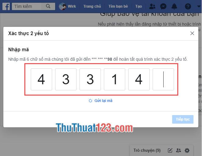 Bạn nhập mã gửi về điện thoại để Facebook xác minh