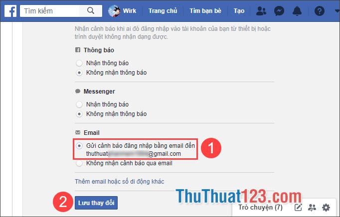 Chọn Gửi cảnh báo đăng nhập bằng email và nhấn Lưu thay đổi