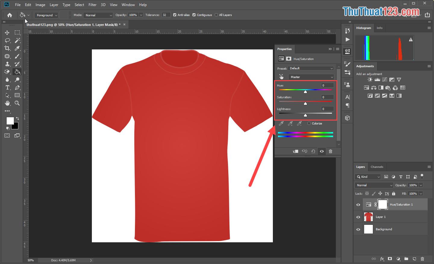 Bạn có thể thay đổi thông số để thay đổi màu sắc của đối tượng