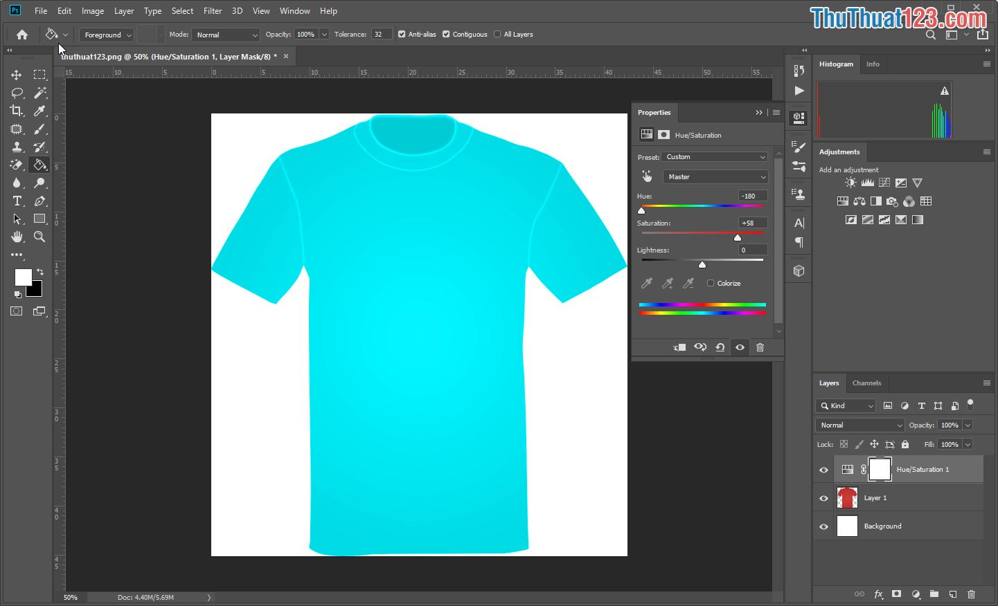 Các bạn điều chỉnh thông số HUE đầu tiên, sau đó điều chỉnh Sacturation và Lightness để cho ra màu sắc ưng ý