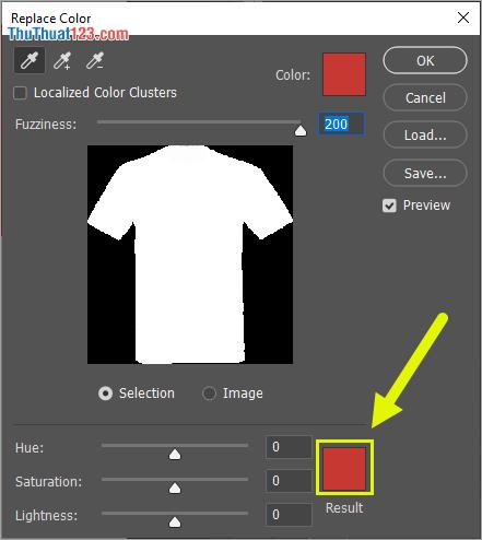 Khi đã chọn xong vùng cần thay đổi màu sắc, các bạn nhấn vào phần màu sắc của Result để thay đổi