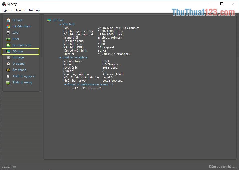 Thẻ Đồ họa cung cấp thông tin liên quan đến iGPU và GPU