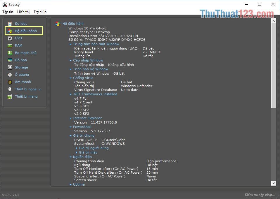 Thẻ Hệ điều hành hiển thị các thông tin liên quan đến hệ điều hành