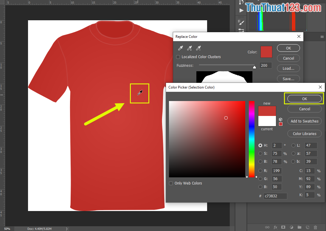 Thủ thuật 123 sẽ thay đổi phần màu đỏ nên sẽ Click chuột vào vùng màu đỏ