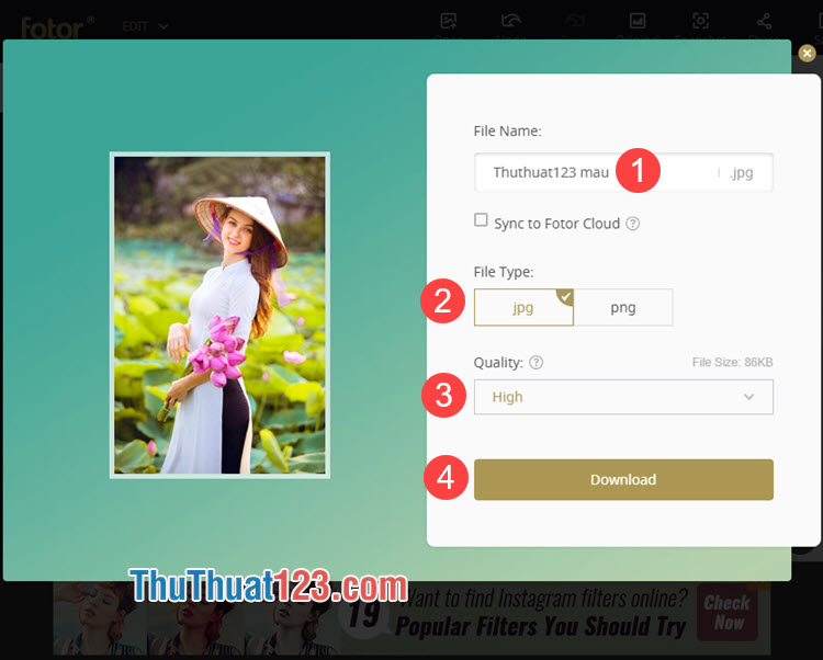Đặt tên, chọn kiểu file và để chế độ Quality là High sau đó bạn nhấn Download