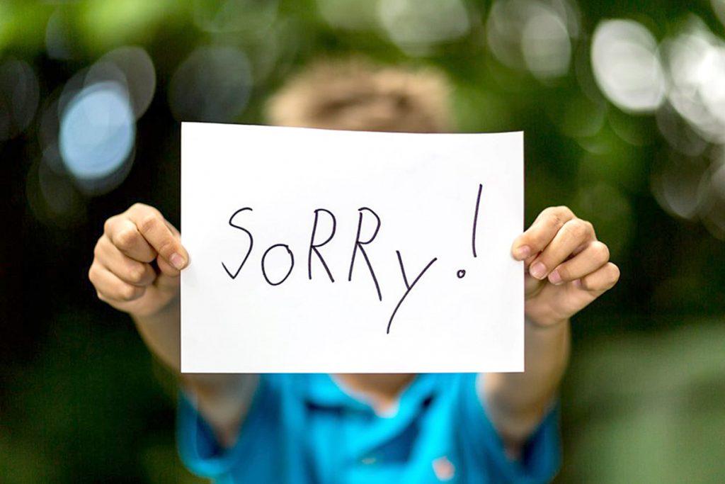 Hình ảnh câu xin lỗi đơn giản