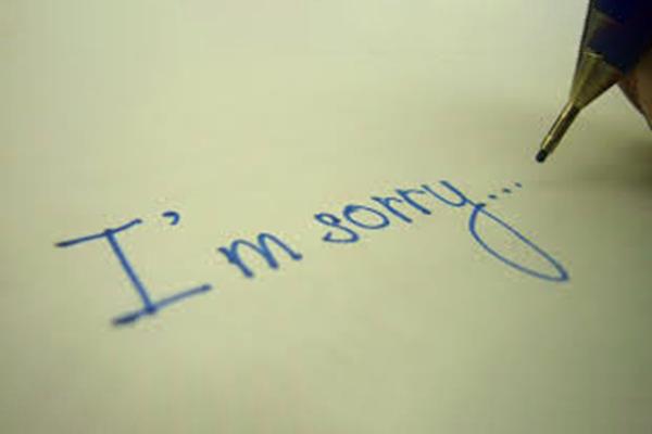 Hình ảnh xin lỗi viết tay