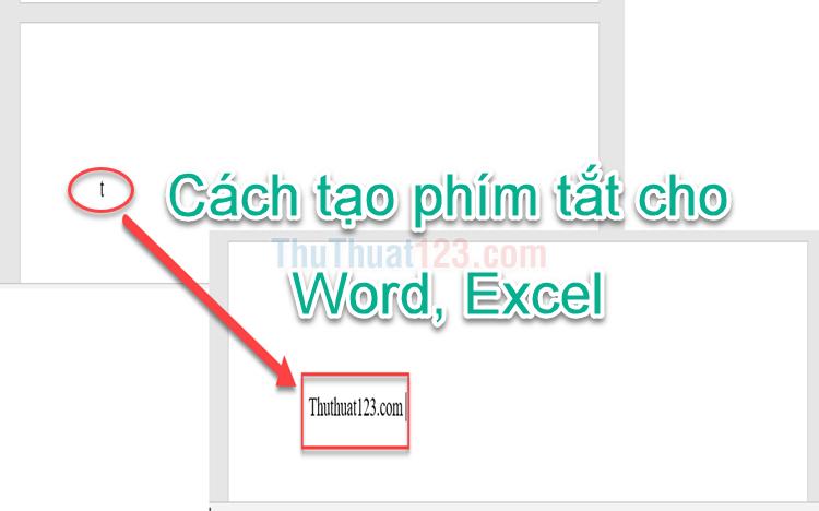 Cách tạo phím tắt cho Word, Excel