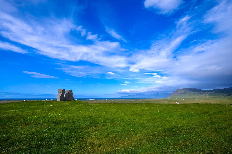 Ảnh cánh đồng và bầu trời xanh