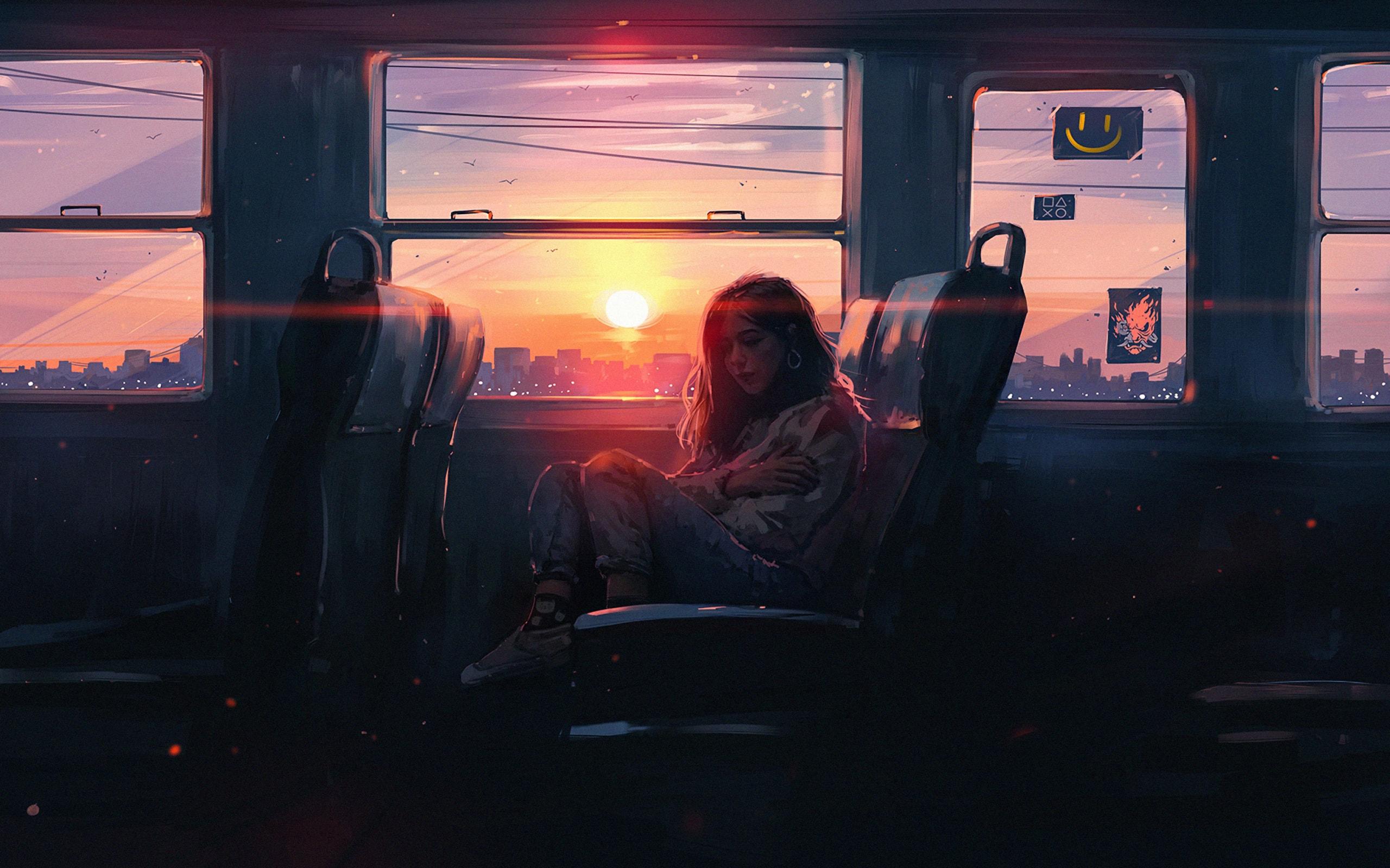 Hình nền đẹp cô gái ngồi một mình trên chuyến tàu buồn bã