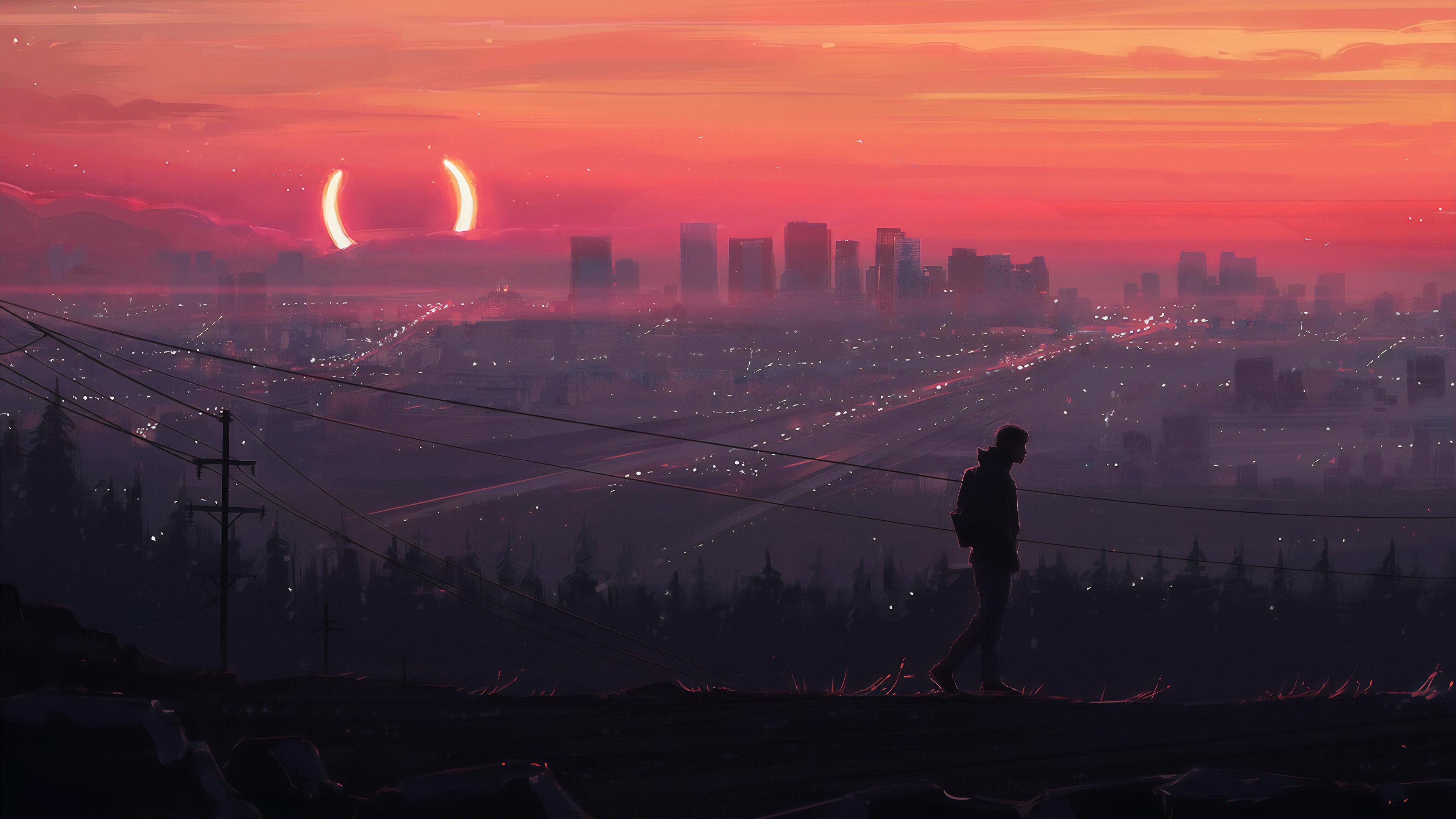 Thành phố u buồn trong ánh chiều tà