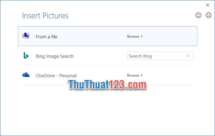 Bạn có thể chọn ảnh trên máy tính, qua tìm kiếm Bing Image Search hoặc thư mục đám mấy OneDrive Personal