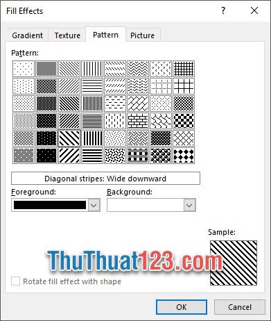 Bạn có thể chọn background với những đường vân mẫu quy tắc giống nhau tại mục Pattern
