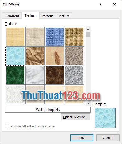 Lựa chọn Background với những đường vân đặc biệt với Texture