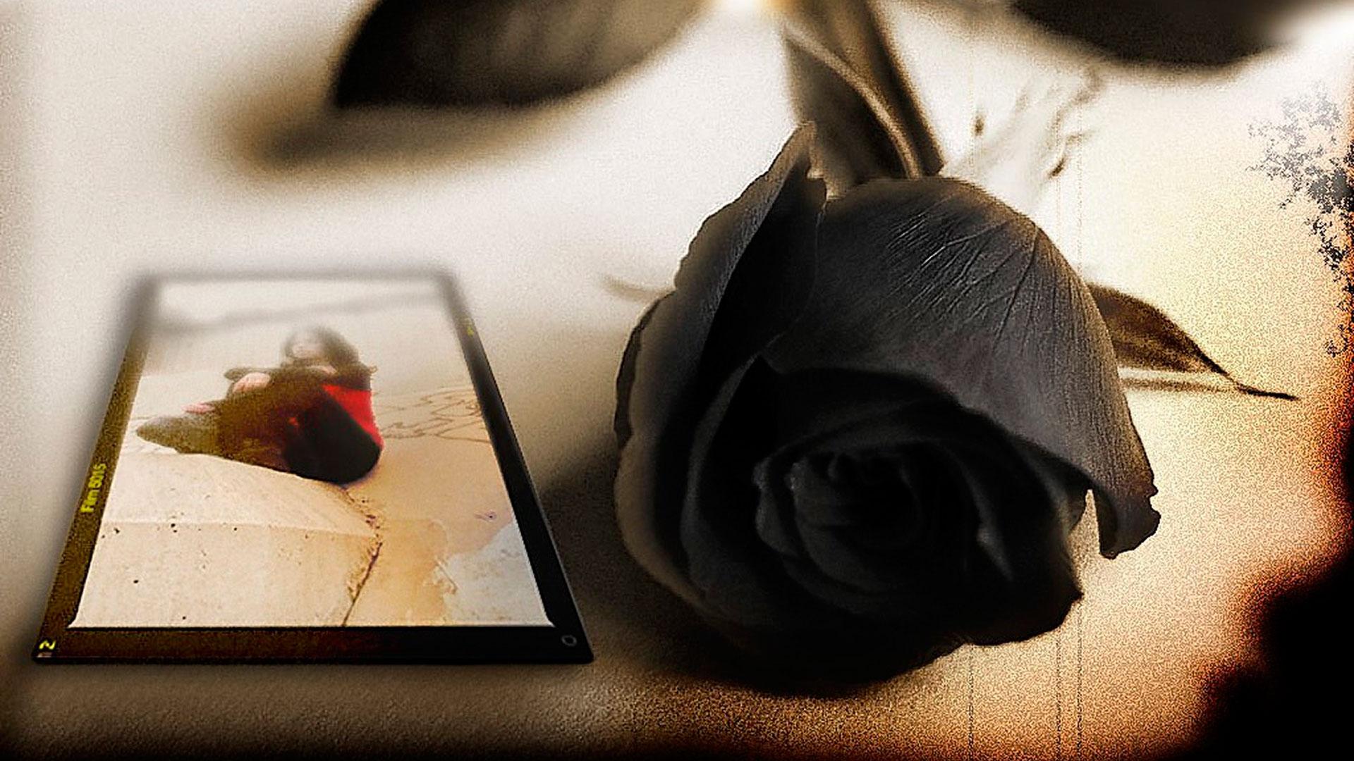 Hình ảnh hoa hồng đen buồn