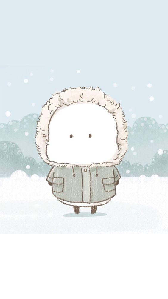 Ảnh nền điện thoại cục bột giữa trời tuyết 2
