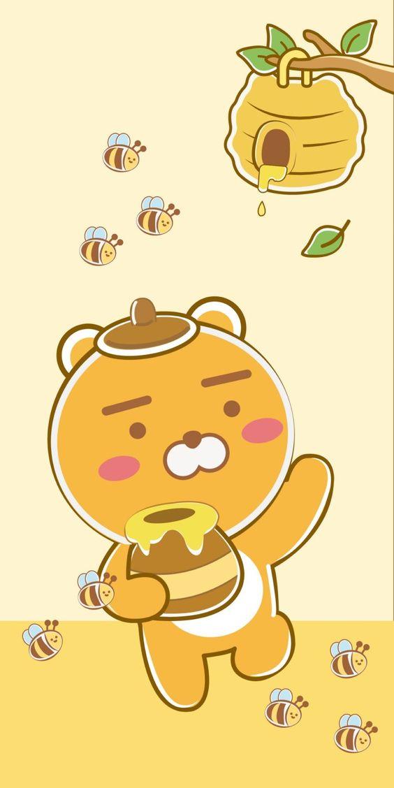 Ảnh nền điện thoại đôi cực đẹp gấu và ong 1