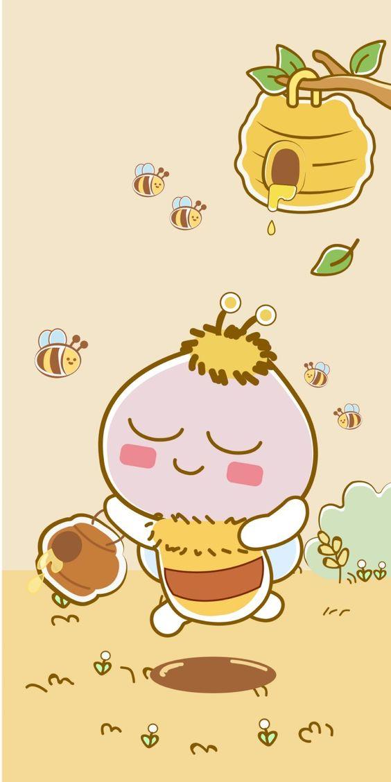 Ảnh nền điện thoại đôi cực đẹp gấu và ong 2