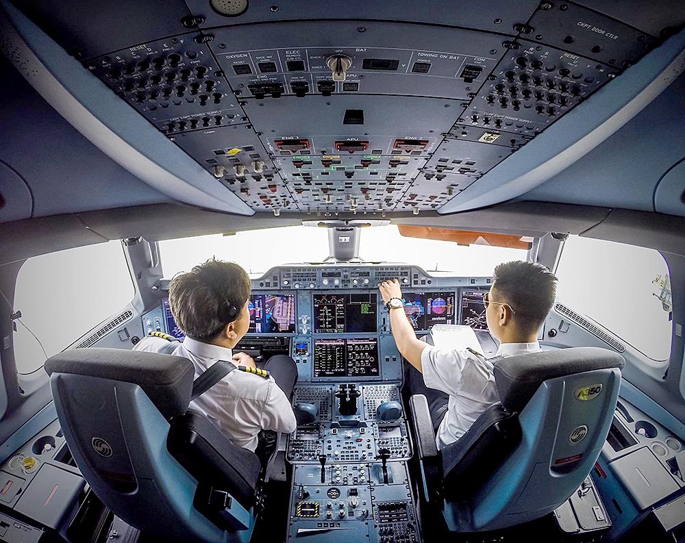Hình ảnh cơ trưởng cơ phó trên máy bay
