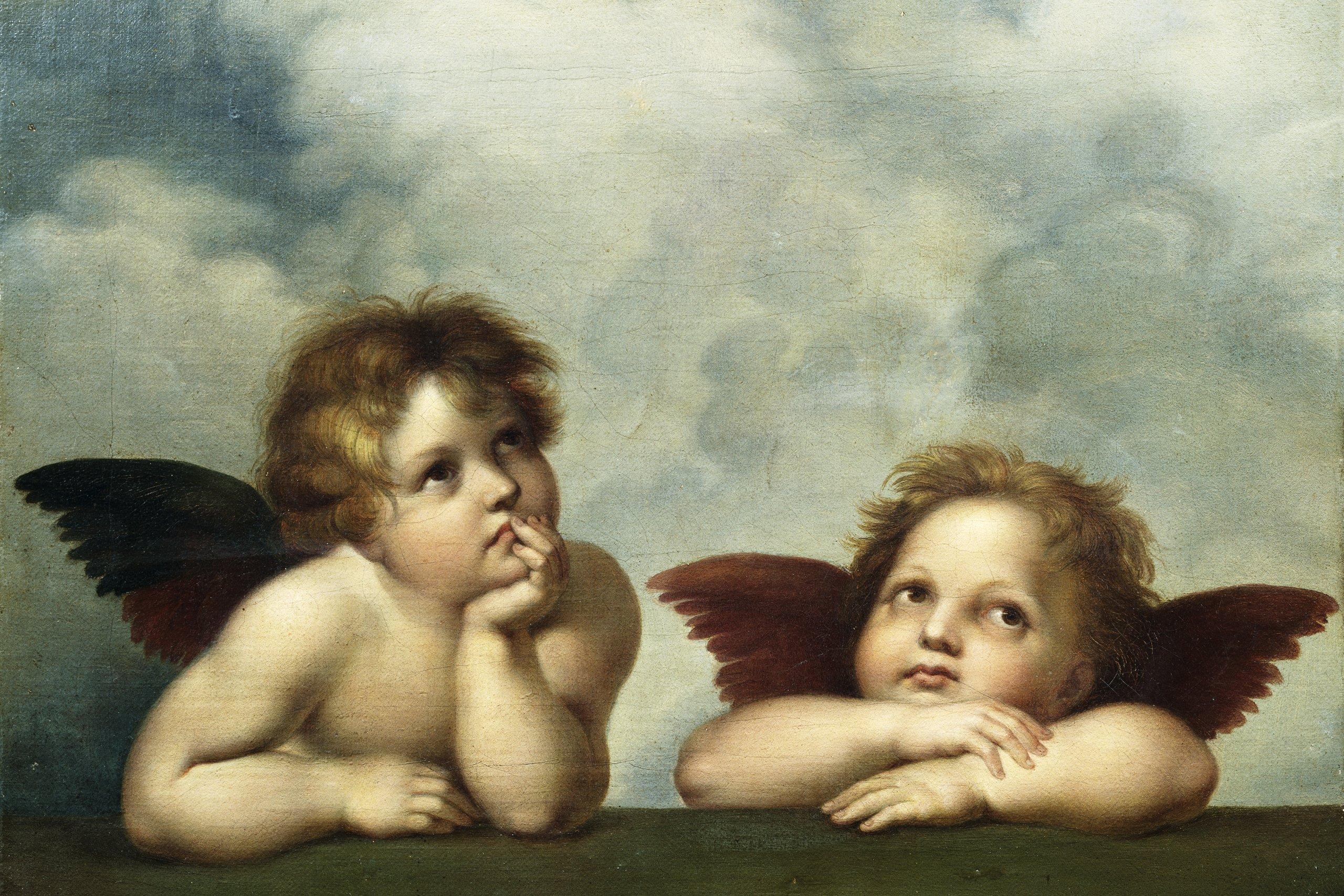 Hình ảnh hai thiên thần nhỏ bé vẽ sơn dầu