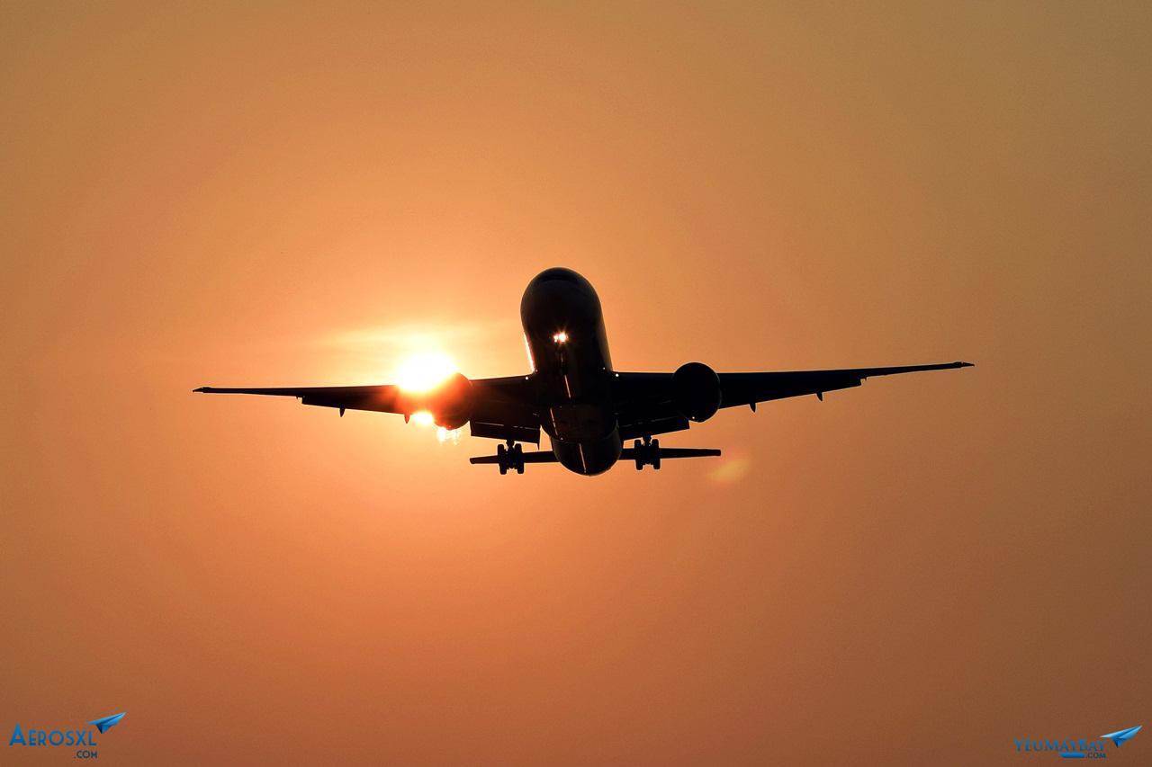Hình ảnh máy bay hoàng hôn